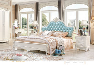 French Luxury Royal Style White Leather Bed Bedroom Sets with White Solid Wood Furniture (6011) pictures & photos