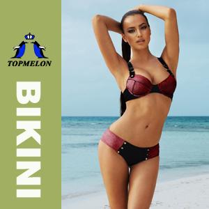 Women′s Push up Padded Bra Bikini Set Swimwear Swimsuit (T166) Red