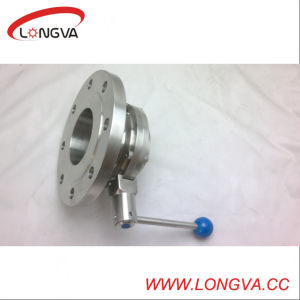 Sanitary Stainless Steel Flanged Welded Butterfly Valve pictures & photos