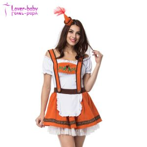 Halloween 2017 Maid Burnt Orange Ladies Oktoberfest Dress L1216 pictures & photos