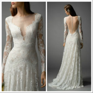 Simple Lace Bridal Gown A-Line Backless Beach Wedding Dress Lb1804 pictures & photos