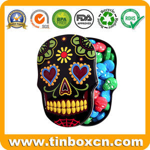 Skull Shape Metal Can Gift Tin for Chocolate Candy Mint pictures & photos