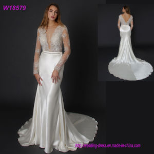 Customized High Quality Europe Style Beaded Llong Sleeve Wedding Dress W18579 pictures & photos