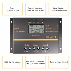 60A 12V/24V Light+Timer Control Solar Panel Battery Charge Controller S60 pictures & photos