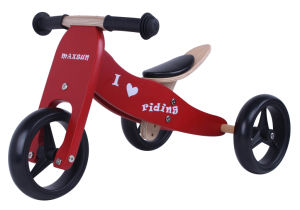 Specifical Customized Wooden Baby Mini Bike/Trike 2 in 1 Red
