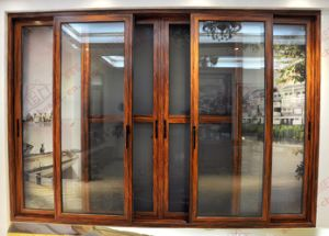 Soundproof Woodgrain Aluminium Sliding Door with Fly Screen (BHA-DS22) pictures & photos