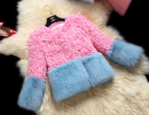 Women′s Fox Fur and Lamb Fur Patchwork Short Coat pictures & photos