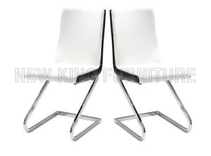 Modern Luxurious Chrome Steel Foot PU Leather Dining Chair (NK-DC085)