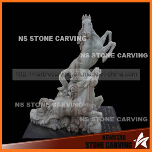 Colorful Natural Stone Horse with Tombstone for Grave Monument pictures & photos