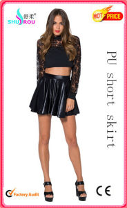 Fashion Sexy PU Leather Short Pleated Skirt Dress for Women (SR-3011)