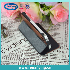 PU Leather+Wooden Flip Cell Phone Case for iPhone5 pictures & photos