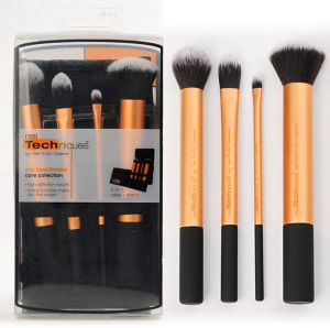 Golden Handle Rt 4PCS Makeup Brush with Soft Synthetic Double Sided Makeup Brush