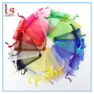 Customized Logo Various Size Organza Drawstring Jewelry Bags Plain Coloured Transparent Accessories and Gift Yarn Bags pictures & photos