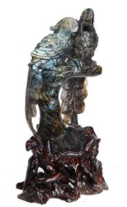 Natural Bird Crystal Carved Labradorite Stone Sculpture Home Decor Aj49