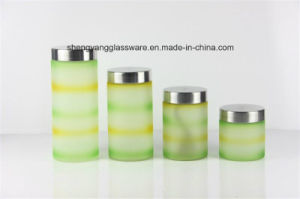 4 PC Spray Colors Plaid Glass Storage Jar Set with Metal Lid pictures & photos