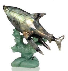 Natural Labradorite Carved Fish Shark Sculpture Home Decoration #Aj35