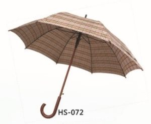 Auto Open Wooden Shaft Straight Umbrella (HS-072) pictures & photos