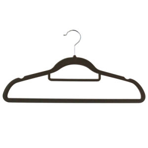 2015 Velvet Suit Top Plastic Notches Flocked Coat Hanger