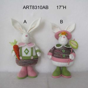 "17""H Easter Decoration Standing Boy and Girl Bunny-2asst pictures & photos"