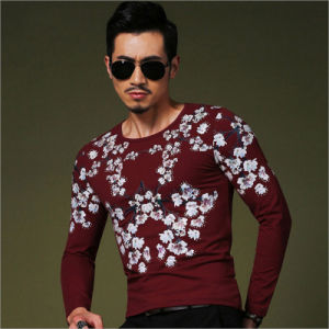 Long Sleeve Floral Cotton Slim Fit Leisure/Casual Tee Shirt pictures & photos