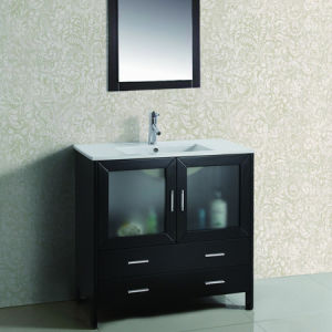 Modern Simple Espresso Color Bathroom Vanity, North American Style Bathroom Vanity, Thailand Wood Bathroom Vanity (ML-8203)