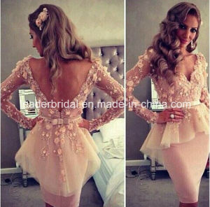 V-Back Short Dresses Long Sleeves Party Prom Dresses W325 pictures & photos