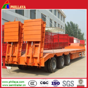 Lowbed Lowboy Low Bed Semitrailer with Hydraulic Ramp Ladders pictures & photos