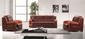 Cheap Price Real Leather 3 Seat Sofa Couch (FOH-6622) pictures & photos