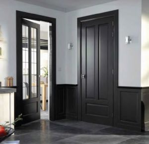 Interior MDF Wood Door with Two Lites, Kitchen Room Door pictures & photos