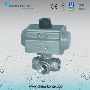 Pneumatic 3-Way Thread Ball Valve Ss Material pictures & photos