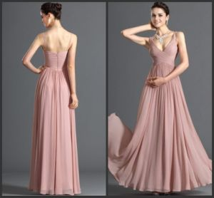 Spaghetti Party Prom Gowns Pink Chiffon Evening Dress E13425 pictures & photos