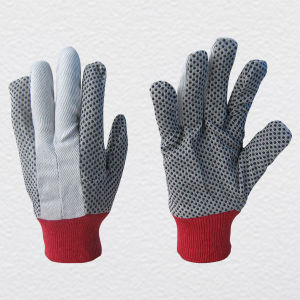 Knit Wrist PVC Dotted Cotton Work Glove pictures & photos