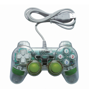 PC Transparent Color Dual Vibration Game Joystick (ADJ-208T)