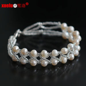 Double Strands 100% Natural Freshwater Pearl Bracelets Jewelry 2015 New Style for Women′s Gift pictures & photos