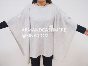 Women′s 100% Cashmere Poncho in Jersey Stitch (GRO)