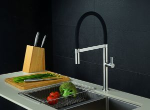 Brushed Nickel PVD Swivel Red Kitchen Faucet pictures & photos