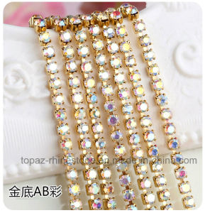 Rhinestone Cup Chain Golden Claw Brass Crystal Cup Chain (TC ss10 siam) pictures & photos