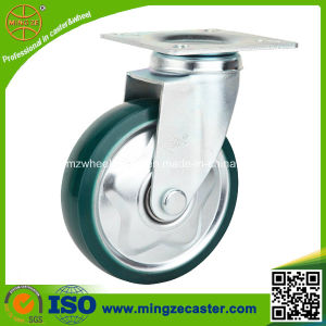 High Quality Swivel Green Clear PU Hand Trolley Wheels pictures & photos