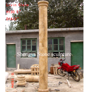 Golden Sand Marble Stone Sculpture Colum (SY-C004) pictures & photos