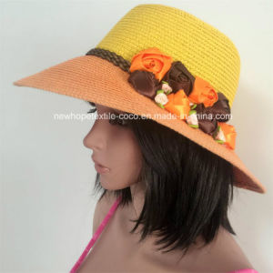 100% Straw Hat, Fashion Floppy Style with Ball Band / Flower / Chiffon Fabric Style pictures & photos