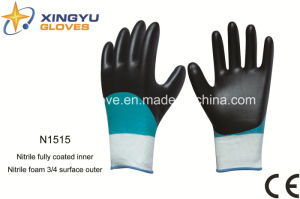 Polyester Shell Nitrile Coated Safety Work Gloves (N1515) pictures & photos