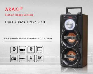 Speaker Bluetooth Wood USB TF FM Radio