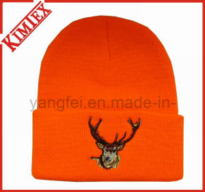 Knitted Acrylic Embroidery Cuffed Hat Beanie pictures & photos