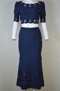 Two Pieces 3/4 Sleeve A Line Bandage Dress with Jacquard Weave Lace pictures & photos