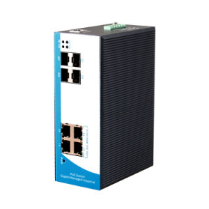 8 Ports Full Gigabit Managed Industrial Poe Switch 4 Poe Port and 4 Gigabit SFP Fiber Ports Ring Network Support pictures & photos
