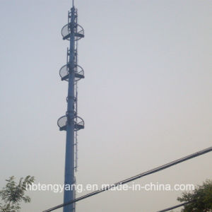 Hot Dipped Galvanized GSM Microwave Steel Pipe Tower pictures & photos