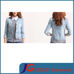Fashion Long Sleeved Lady Denim Jeans Jacket (JC4055) pictures & photos