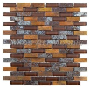copper mosaic mixed glass and ceramic tile for kitchen backsplash