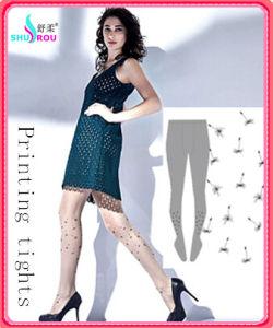 Fashion Sexy Trans-Printing Tights Pantyhose Silk Socks Stockings for Women (SR-1284)