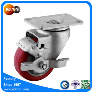 Medium Duty Wheel Brake Swivel 3inch Red PU Casters pictures & photos
